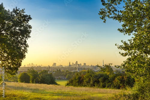 The City of London Cityscape at Sunrise with early Morning Mist from Hampstead Heath Canvas Print