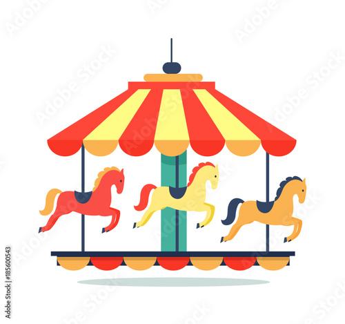 Obraz na plátně Bright Revolving Carousel Icon Vector Illustration