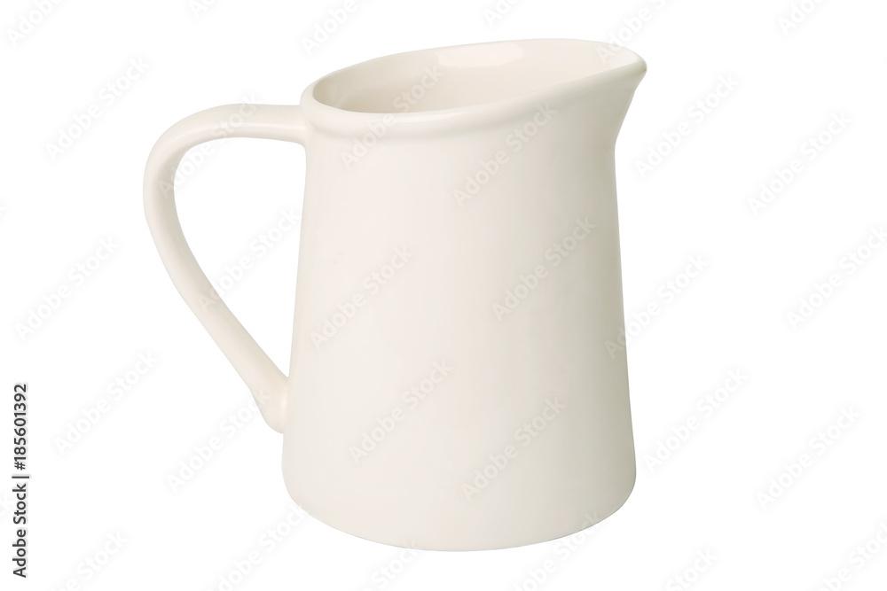 Fototapety, obrazy: White jug isolated on white background. Ceramic rustic empty jug.