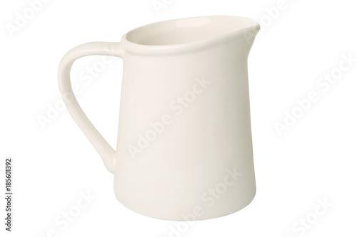 Fototapeta White jug isolated on white background. Ceramic rustic empty jug. obraz
