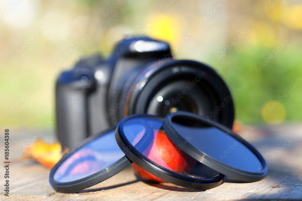 Fototapeta Three photo filters with a camera