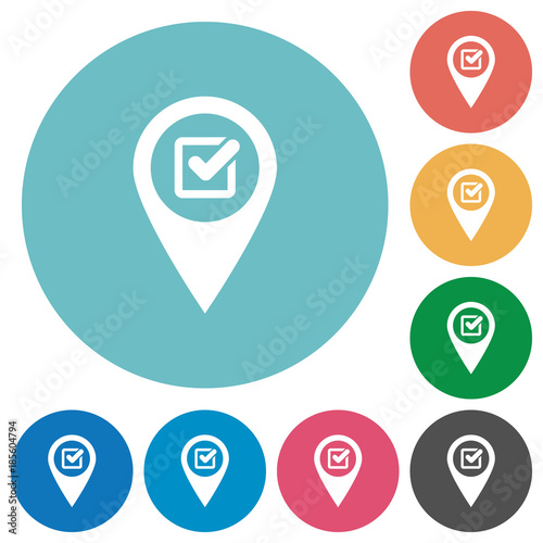 Photo Checkpoint GPS map location flat round icons