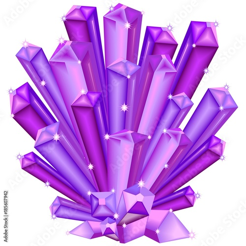 Deurstickers Draw Amethyst Crystal Faceted Purple Gem isolated on white