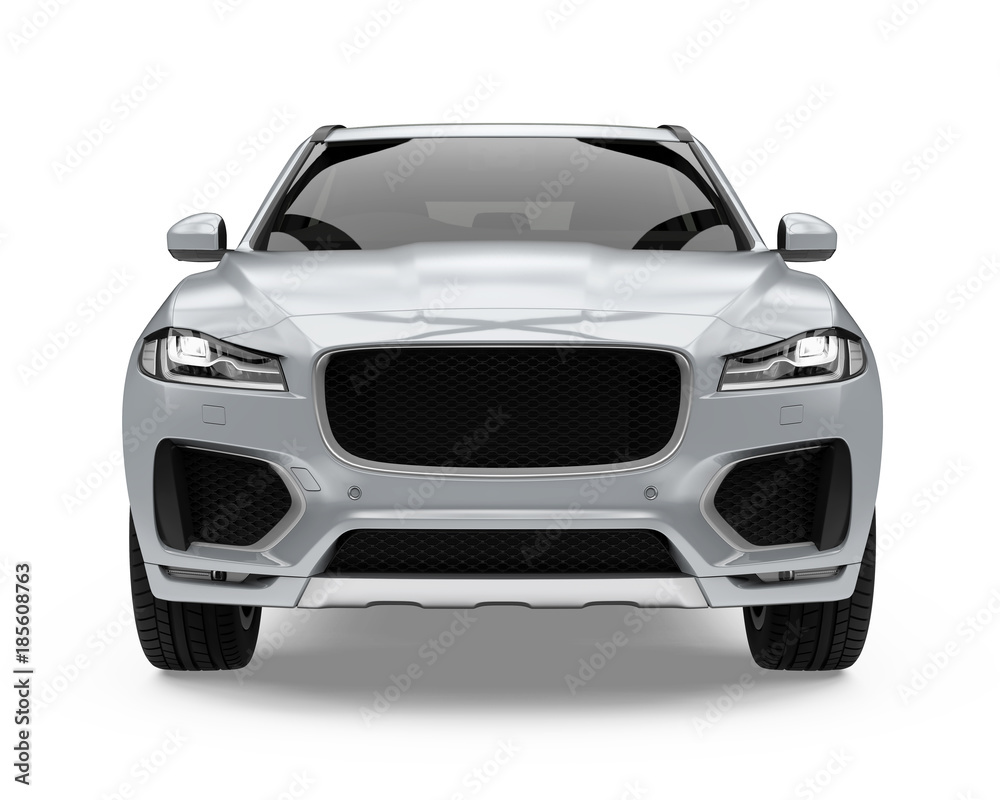 Fototapety, obrazy: Silver SUV Car Isolated