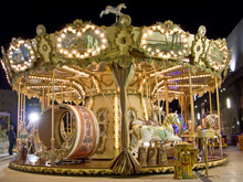 An Old Fashioned Carousel At Night