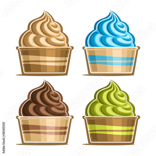 Vector set of Ice Cream in paper cup, variety soft serve sundae in cardboard tub box for menu cafe takeaway, icons of italian fruit swirl ice cream, vegan frozen twisted dessert in design packaging Fototapete