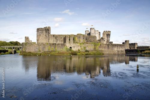 Plakat Caerphilly Castle w Walii w Wielkiej Brytanii