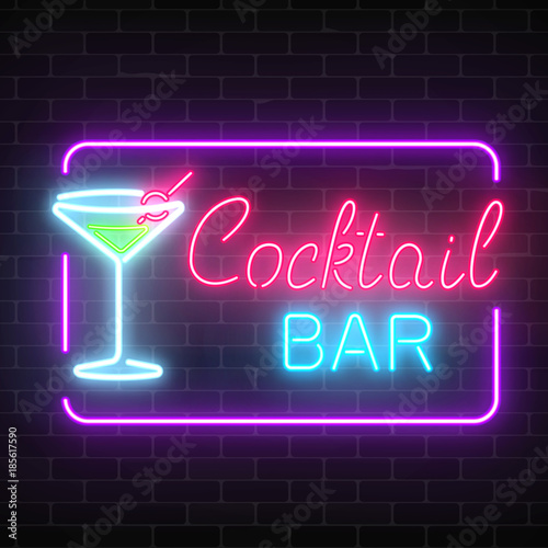 Neon cocktail bar and cafe glowing sign with geometrical frame on a brick wall background.