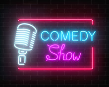 Neon Comedy Show Sign With Ret...