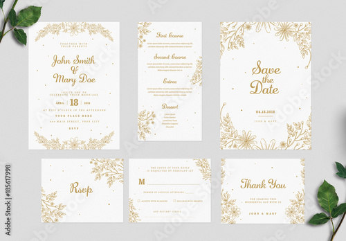 Gold floral wedding invitation set buy this stock template and gold floral wedding invitation set stopboris Images