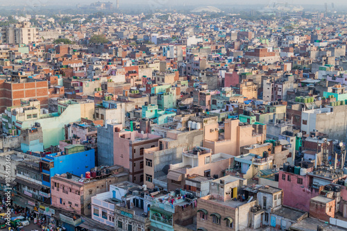 Fotografie, Obraz  DELHI, INDIA - OCTOBER 22, 2016: Aerial view of Old Delhi, India.