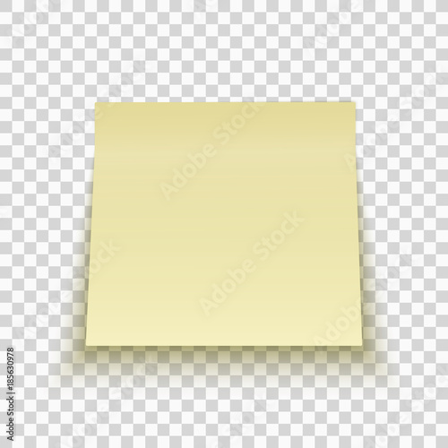 Yellow sticky note isolated on transparent background. Office note ...