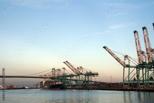 Canvas Prints Bridge Large cargo container cranes