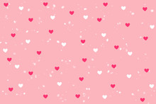 Pink And White Heart Shape With Snowfall Background On Sweet Pink Wallpaper With Copy Space. Illustration Raster Pattern Love Theme On Valentine's Day Concept Can Apply For Product Display And Other.