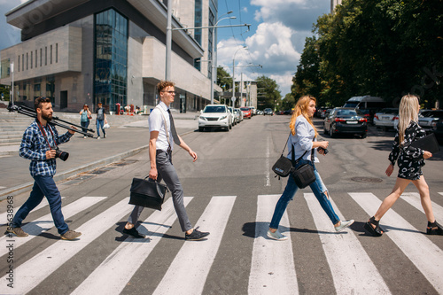 Fotografering leisure crosswalk urban fashion youth lifestyle concept