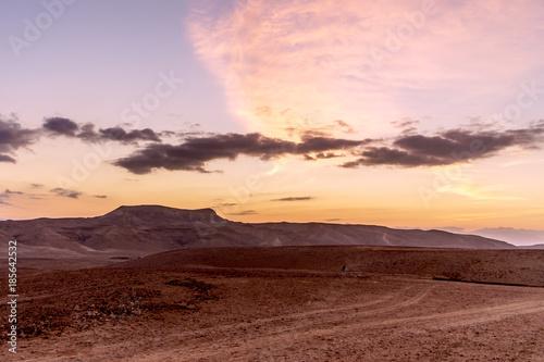 Poster de jardin Desert de sable Magic pink and orange colorful scenic sunrise dawn over holy land judean desert in Israel.