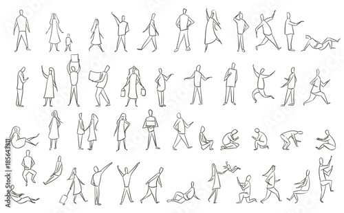Set hand drawn sketch of silhouettes people. Vector illustration.