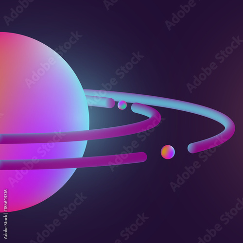 abstract realistic 3d colorful planet shapes modern vector