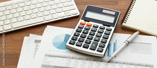 Fotomural Financial accounting with calculator