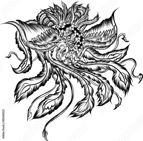 Hand Drawn Colorful Phoenix Tattoofire Bird Isolate On White