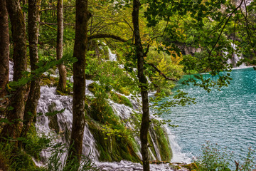 Panel Szklany Wodospad Croatia Plitvice lake, natural travel background, national park