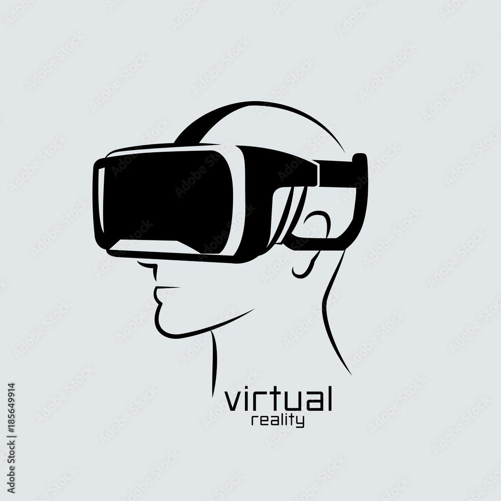 Fototapeta Virtual reality logo, flat design, vector, icon,  black & white, VR