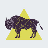 Abstract polygonal geometric buffalo. Side view. Vector illustration created from triangles. - 185656331