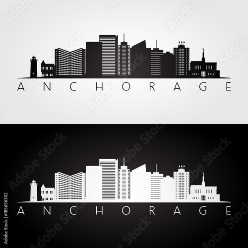 Anchorage usa skyline and landmarks silhouette, black and white design, vector illustration Canvas Print