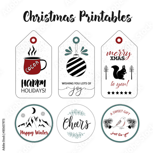 picture relating to Printable Sticker Labels named Tags and stickers choice. Xmas printable labels