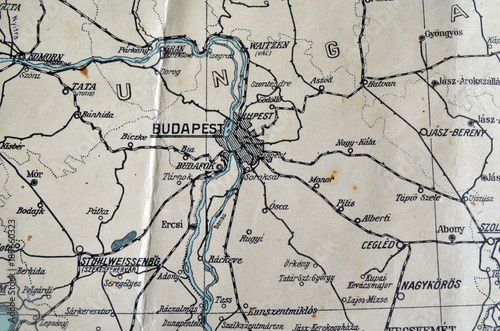 German Vintage Map Of Central Europe Circa FragmentEurope - Vintage budapest map