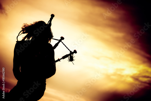 Man Playing The Bagpipe Canvas Print