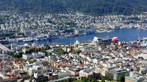 Poster Top view of the centre of Bergen city, beautiful landscape, sunny day, Hordaland county, Norway