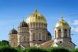 canvas print picture - Kuppeln der Kathedrale der Russisch-Orthodoxen Kirche in Riga, Lettland