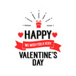 Happy Valentines day lettering with gift