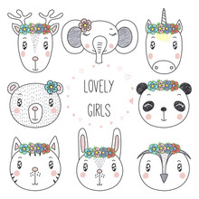 Set Of Hand Drawn Cute Funny Portraits Of Cat, Bear, Panda, Bunny, Reindeer, Unicorn, Owl, Elephant Girls With Flowers. Isolated Objects On White Background. Vector Illustration. Design Concept Kids.