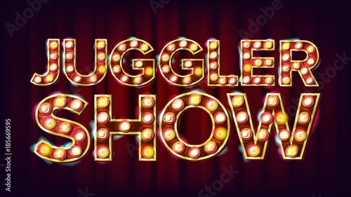 Juggler Show Banner Sign Vector Canvas Print