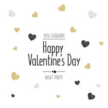Happy Valentines Day Typography Poster  Valentine's Day  Greeting Card Scribble Drawing Text Stars Golden Black White Background. Vector Illustration.