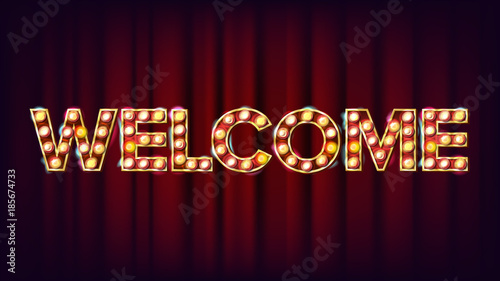 Photo  Welcome Banner Sign Vector