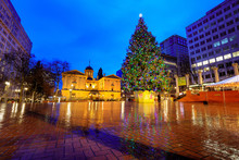 Pioneer Courthouse With Christmas Tree On A Rainy Winter Night