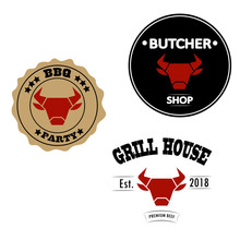 Grill House, Butcher Shop And Bbq Party Vintage Style Logos Or Labels With Red Bull Or Cow Head. Vector Illustration Design