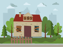 Abandoned House. Flat Design. ...