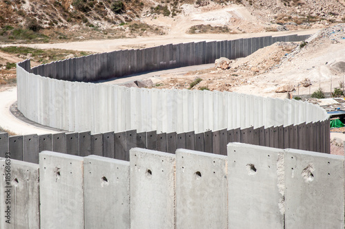 The separation or security wall between Gaza and Israel. Canvas