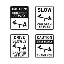 Caution Children Kids At Play Sign Set