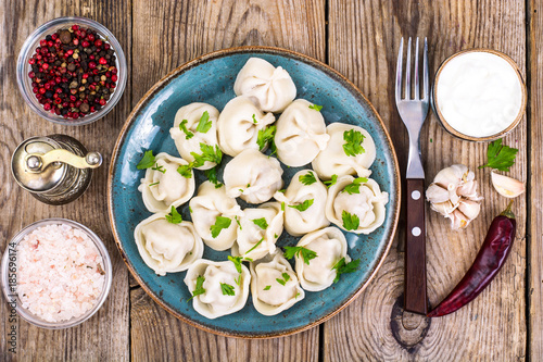 Russian cuisine. Homemade dumplings stuffed meat Canvas Print