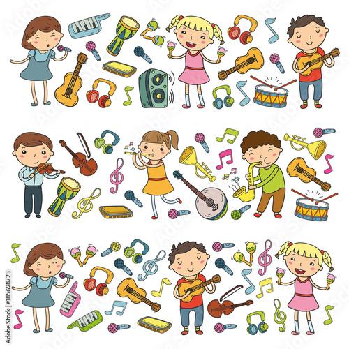 Music school for kids Vector illustration Children singing songs