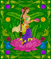 Indian girl welcoming with Indian style background and floral pattern