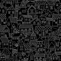 Panel Szklany Kolorowe domki Doodle hand drawn town seamless pattern. Endless texture for wallpaper, fill, web page background, surface texture.