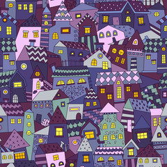 Panel Szklany Kolorowe domki Doodle hand drawn town seamless pattern. Can be used for textile, website background, book cover, packaging.