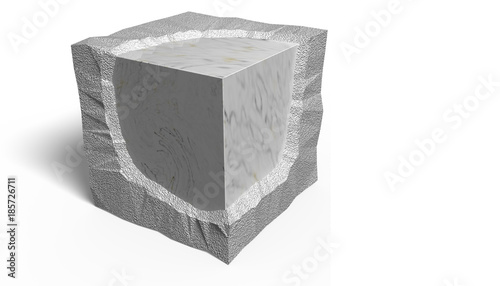 Fotografia, Obraz  3D Illustration. Smooth and rough ashlar.