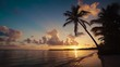 Sunrise video at tropical island beach and palm tree silhouettes. Punta Cana, Dominican Republic